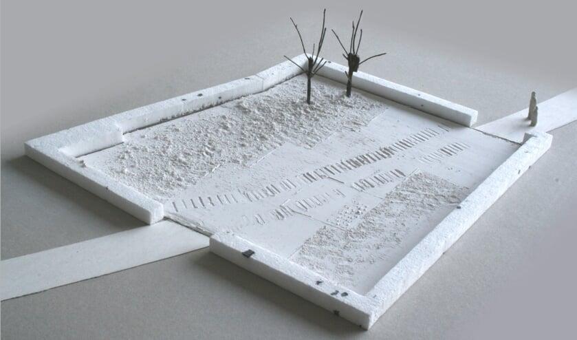 Een impressie van het kunstwerk. Het gaat vooral om de 'sporen' die worden uitgehakt op de plek van een al bestaand voetpad.