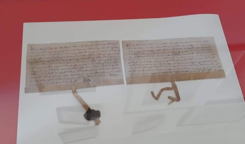 """De akte uit 1268 waarin voor het eerst melding wordt gemaakt van """"Rosendale""""."""