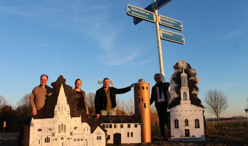 Op de rotonde bij Steenbergen Noord werd in februari 2019 al de grote maquette van de skyline gepresenteerd.