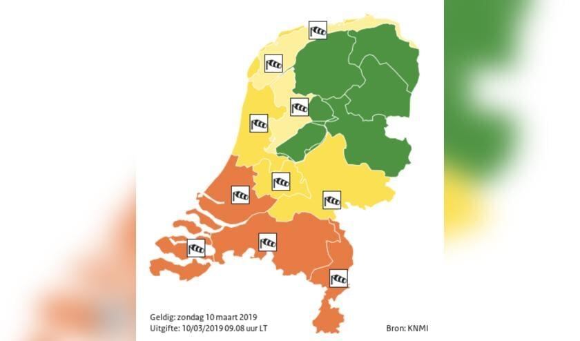 In heel het zuiden van het land is code oranje gegeven.