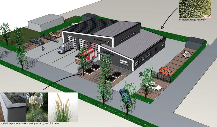 Het ontwerp voor de nieuwe brandweerkazerne in Rilland.