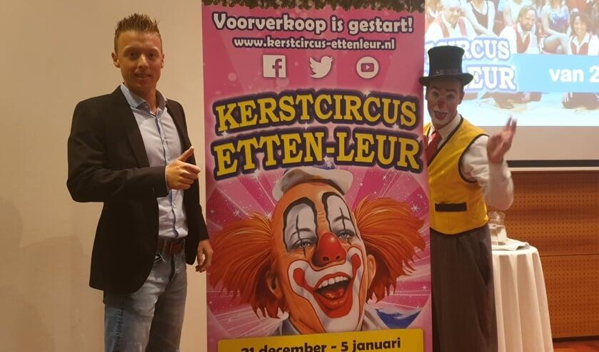 Kevin van Geet met clown Marco Mariani uit Portugal kondigen aan dat de voorverkoop intussen van start is gegaan.
