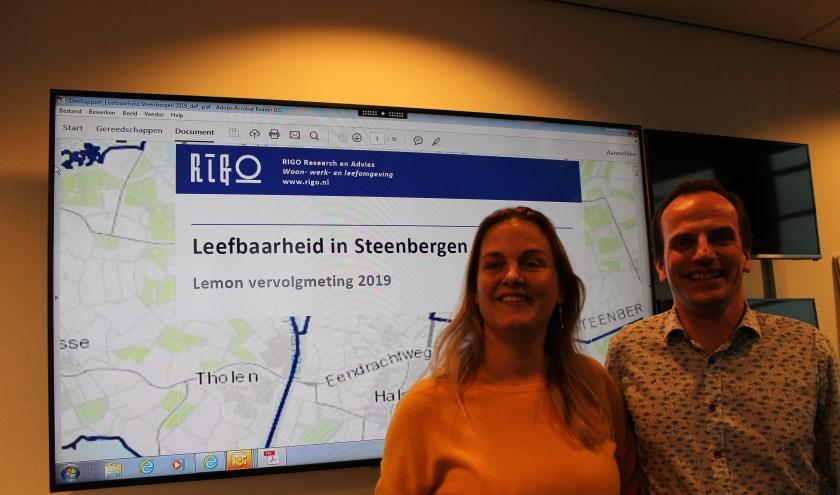 Wethouder Esther Prent met beleidsmedewerker Martin Meulblok tijdens de presentatie van het leefbaarheidsonderzoek.