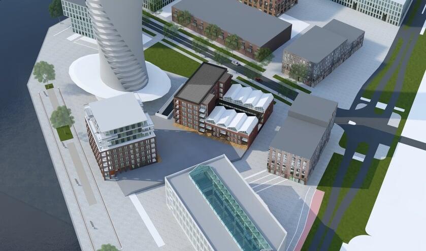 Een impressie van de wooncomplexen op het Timmerplein.
