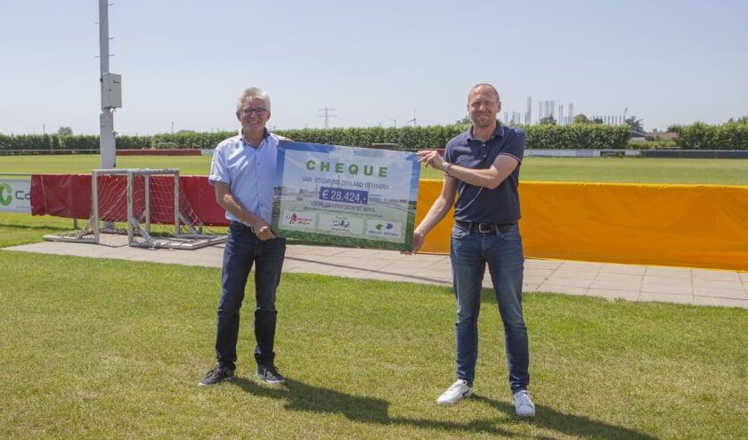 Peter Vermeulen en Wim-Paul Lievense van de stichting Zeeland Refinery. FOTO ZEELAND REFINERY