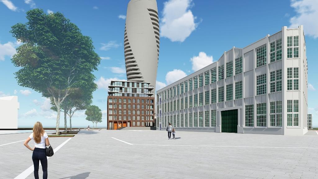Een impressie van de woontoren C-Dock, met de Timmerfabriek op de voorgrond. Foto: Zeeuwse Vastgoed © souburgsche courant