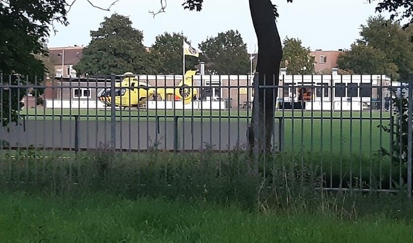De traumahelikopter is ter plaatse gekomen voor de explosie.