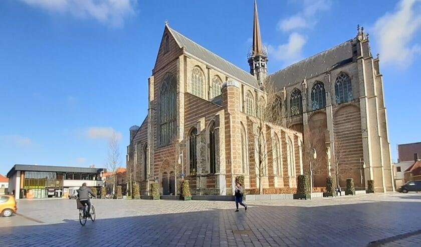 <p>De Singelstraat bij de Grote Kerk in Goes.</p>