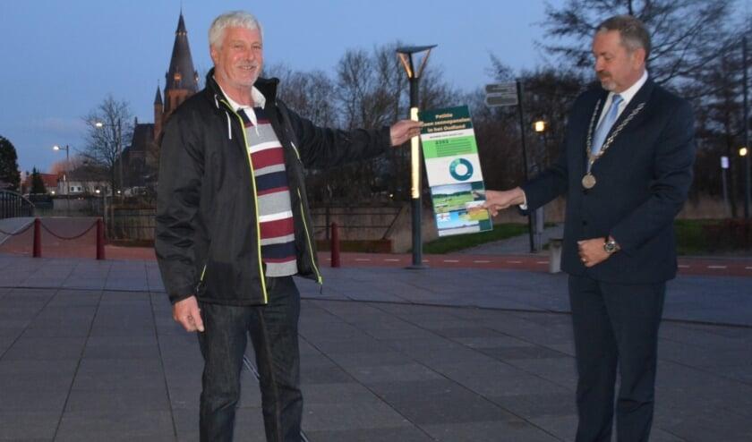 <p>Louis de Haan overhandigt Jeroen Weerdenburg de verzamelde 2.392 handtekeningen.</p>