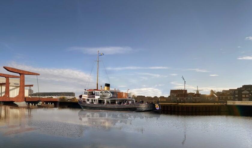 Fotomontage van de Koningin Emma in de Dokhaven.